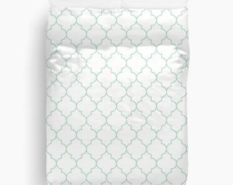 Mint Duvet Cover, Quatrefoil Duvet Cover, Girls Bedroom Decor, Queen Duvet Cover, King, Twin, Green Duvet Cover, Quatrefoil Bedding, Dorm