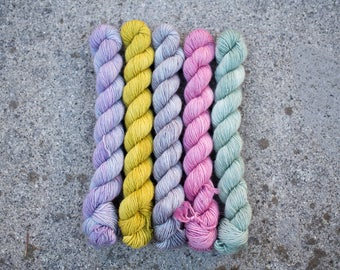 Hand Dyed Mini Skeins Yarn Set - 100% Merino SW Fingering Weight Yarn - Single ply - 100 grams - 366m/400yards - Vintage Romantic