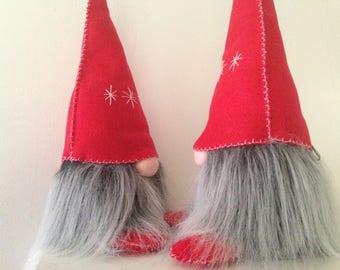 """Tomte  - Scandinavian Gnome  - Red Felt Hat & Grey Beard - 10"""" Tall"""