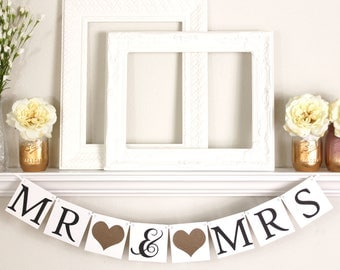 Wedding Banner - Mr and Mrs Sign - Wedding Photo Prop - Bronze Wedding Decor - Mr and Mrs Banner - HT102