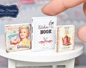 Miniature books SET - cookbooks - handmade Dollhouse 1:12 scale