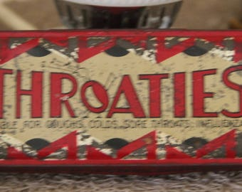 Vintage Throaties Lozenge lolly  Collectible Tin made in England