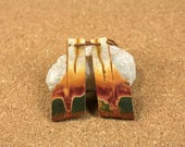 Red Creek Jasper Earring Pair - Orange Yellow and Green Rough Edge Rectangle Matched Pair