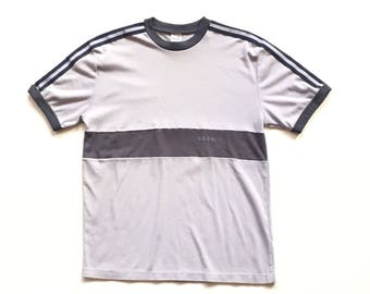 1970s Adidas Trefoil short sleeve t shirt size XL thick high quality gray black striped adidas tee shirt