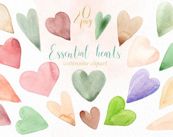 Essential Hearts  Watercolor clipart , clipart hand drawn.  Valentines day clip art. Love clipart.