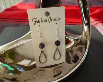 Earrings drop pearl purple onyx agate, silver