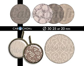 Taupe • 45 Images Digitales RONDES 30 25 20 mm page sheet cabochon bijoux liberty london taupe prune digital marron brun