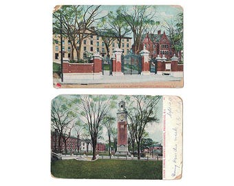Providence Rhode Island antique postcard | Brown University, Carrie Tower, Van Wickle Gate | 1900s RI college decor alumni gift | SET OF 2