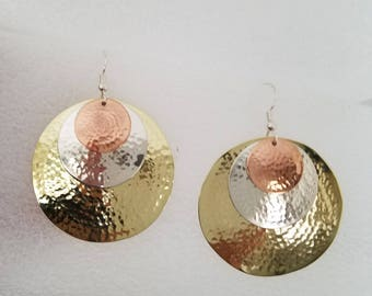 Hammered Sterling Copper and Brass Earrings