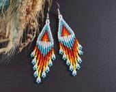 Statement Jewelry Boho earrings Gift|For|Women Chandelier earrings Native earrings Dangle earrings Gift|For|Friend American style Seed bead