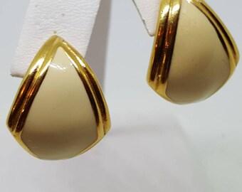 vintage monet earrings pierced earrings Monet Earrings Vintage Cream Enamel Gold Monet earrings Pierced ears.gift for her