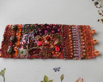 Wrist cuff textile bracelet in orange, burgundy, purple...hand beaded collage wrist cuff, manually stitched bohemian fabric cuff bracelet.