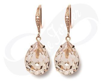 Rose Gold Bridesmaid Earrings Silk Earrings Champagne Earrings Bridal Jewelry Bridesmaid Jewelry Bridal Jewelry Wedding Rose Gold Earrings