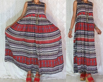 ETHNIC VINTAGE 1970'S bohemain Indian cotton gauze hippie boho gypsy maxi sheers dress
