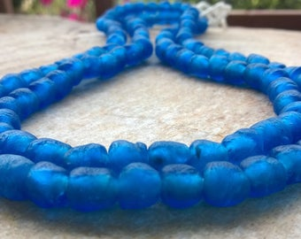 30 Sapphire Blue African Recycled Glass Beads,30 Beads,8 mm Small Blue African Beads,Ghana Recycled Glass Beads,African Beads, Krobo Beads