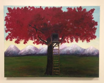 Original Acrylic Painting -Red Tree