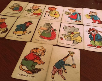 Vintage 1930's Waddy Animal Snap cards set of 12 cards for Craft Ephemera