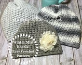 Winter Mist Beanie Crochet Pattern, Easy Hat Crochet Pattern and Tutorial