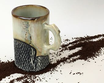 Espresso Cup, Small Coffee Mug in White Crystalline Glaze, Porcelain Coffee Cup Makes a Unique Handmade Gift. 3.25 in. Tall. Food Safe