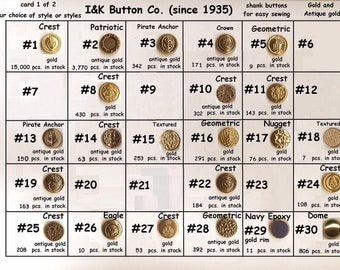 """30 Metal 5/8"""" Shank Buttons Gold Brass Antique  15mm- Costumes School Plays-YOUR CHOICE- medieval clothing Renaissance Faire Clothing"""