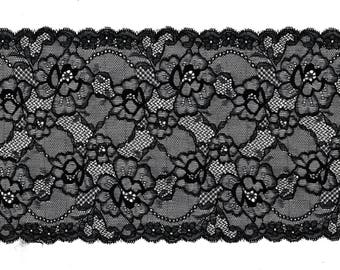 Stretch black floral Stretch Lace Flower Calais Black CALAIS lace design trim 17 cm