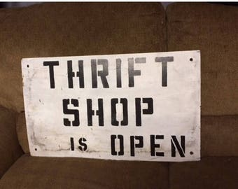 Sale Through August 21st Vintage Hand Painted Wooden THRIFT SHOP OPEN Sign, Old Store Front Sign, Old Homemade Store Sign, Wall Hanging Shab