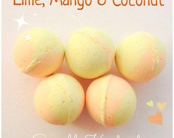 Bath bomb,  Lime, Mango and Coconut fragrance, moisturising and skin softening.
