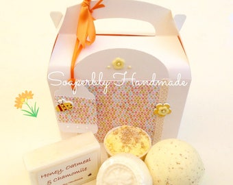 Gift Boxes, Gifts, Honey, Oatmeal and Chamomile soap, bath bomb, bath truffle, Honey and Oatmeal soy wax melt