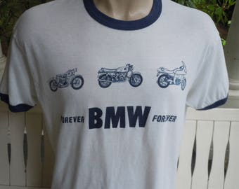 Size XL (48) ** Very Rare Late 1970s / Early 1980s BMW Motorcycle Shirt (Single Sided)
