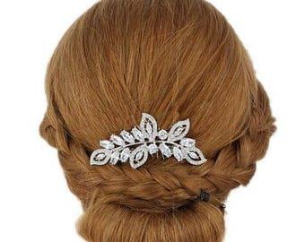 ON SALE Crystal Bridal Haircomb, Silver Bridal Hairpiece , Vintage Bridal Hair Accesory, Romantic Wedding Haircomb