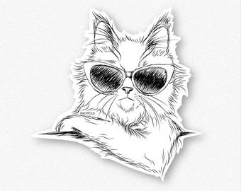 Ginger the Maine Coon Vinyl Decal Sticker - Gift For Cat Owner, Cat Sticker, Cool Cat, Cat Laptop Sticker, Cat decal, Maine Coon Decal
