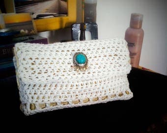 CROCHET handmade Wedding white crotchet purse / Vintage style wedding crotchet purse/Vintsge boho style purse