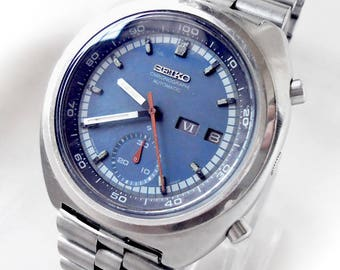 Vintage BLUE SEIKO CHRONOGRAPH 6139 Flyback Day-Date Watch
