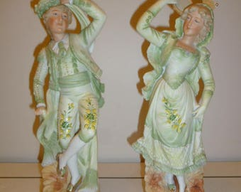 Pair European fine porcelain figurines dancing man woman circa 1930s
