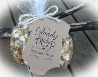 Ready to Pop Tags Only OR Bags/Tags + Twine| 3 Tag Colors | Ready to Pop Baby Shower Favor Tags | Baby shower Favors - LGE