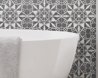 MACRAME Tile Stencil - Floor Wall Furniture Tile Stencil - MACR01