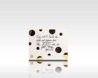 Fear Not Scripture Canvas Gold Polka Dots Handdrawn Original Design 8x10 Art