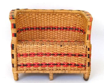 """ON SALE Vintage Wicker Doll Sofa 11"""" x 8.5"""" Doll Wicker Furniture High Back Toy Doll Sofa. Baby Doll Furniture"""