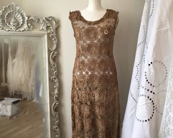 Boho dress  autumn colours,one of a kind dress,cotton dress nature look,bohemian clothing everyday,lace dress rawrags,pagan dress cotton,eco