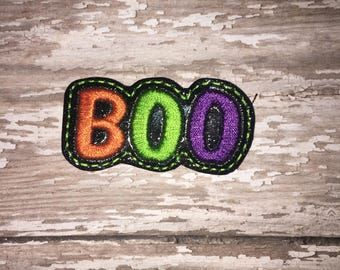 Set of 4 Boo Felties Halloween Trick or Treat Treats Feltie Felt Embellishment Bow! Felties Applique Party Planner Clip