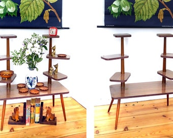 Plant stand 60s formica Flower bench vintage Mid Century modern etagere wooden faux bois 50s furniture table indoor plant stand