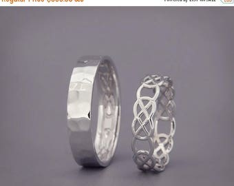 SALE in July! 14K White Gold Celtic Knot Wedding Rings Set   Handmade 14k white gold Celtic wedding Rings   His and Hers Wedding Bands Set