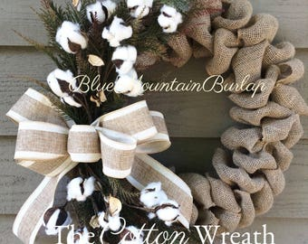 The Cotton Burlap Wreath, Cotton Wreath, Summer Wreath, Front Door Wreath, Cotton Boll