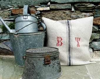 Washed linen pillow cover, with embroidered and  customizable initials.