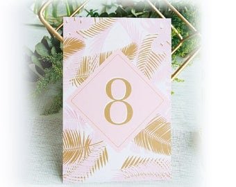 Table Numbers Cards - Gold Foil Leaf-Prink on Pink - Wedding, Party Banquets Table Decors