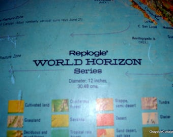Illuminated World Globe *Replogle World Horizon Series* Topography Mapped *Made in USA* Gift for the Young Scholar, Student...