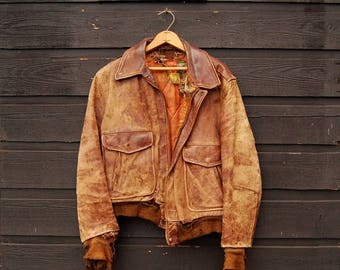 Summer SALE Leather Bomber Jacket, 30s 40s Horsehide Jacket, Vintage Leather Jacket Mens Med Lrg, Aviator Flight Jacket, East West Motorcycl