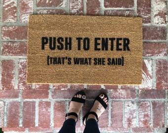 New! Push to Enter-Doormat-doormats-welcome mat-funny doormat-shop josie b-home decor