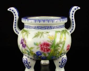 N3805 China Gilt Edges Famille Rose Porcelain Incense Burner