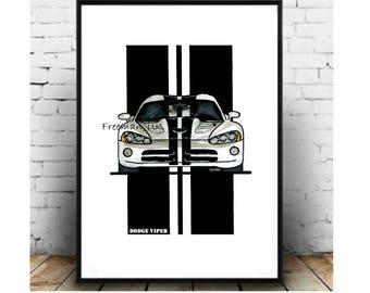 Dodge Viper SRT Art print illustration